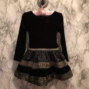 Sweet Heart Rose black and gold velvet dress